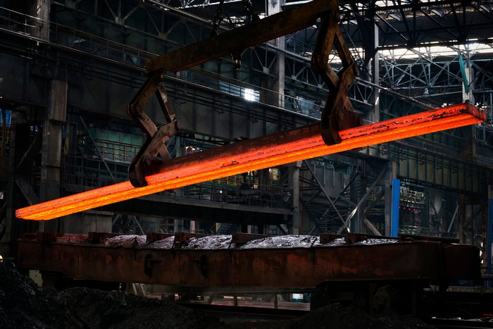 Picture of red hot steel beam in foundry