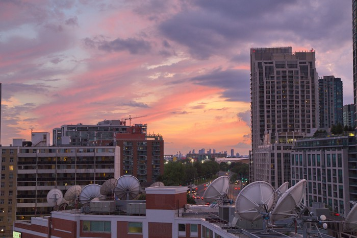 Rooftop satellites overlooking the city of Toronto, Canada.
