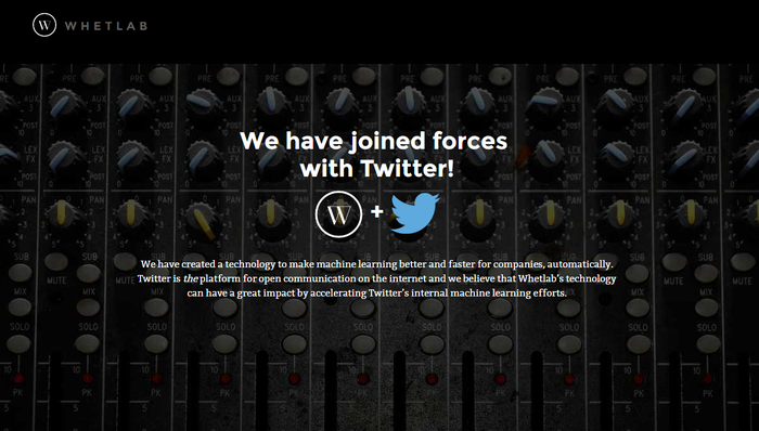 Screenshot of Whetlab website announcing acquisition by Twitter.