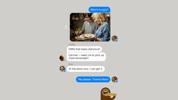 An example chat in the Messenger app.
