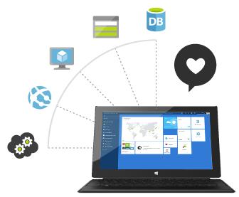 Azure on a laptop.