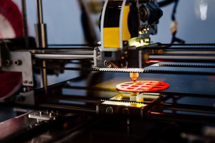 3D printer printing a plastic part
