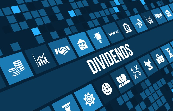 """The word """"dividends"""" on a blue background with finance-related icons."""