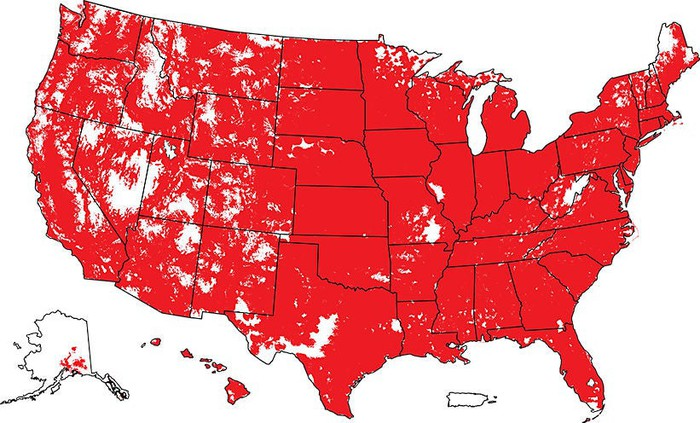A map of the United States displaying the broad extent of Verizon's 4G LTE wireless coverage.