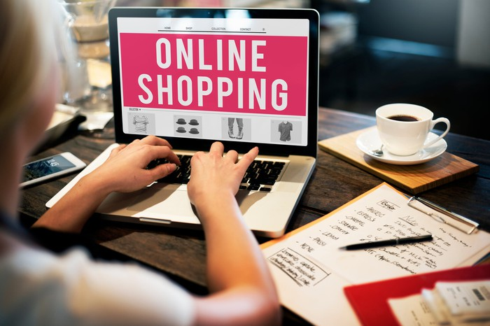 Online shopping banner on computer screen