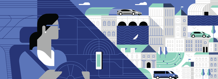A cartoon of an Uber driver with various cars in the background