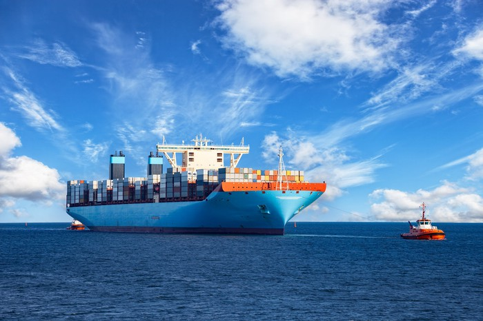 Shipping vessel on open water