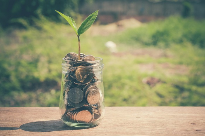 A green sprout coming out of a glass jar full of coins.