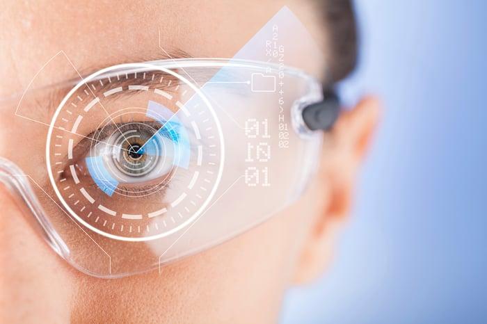 Image of woman wearing futuristic glasses.