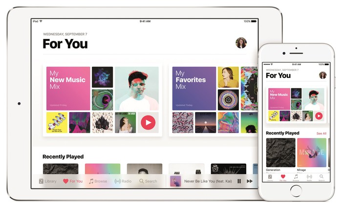 Apple music running on different Apple products.