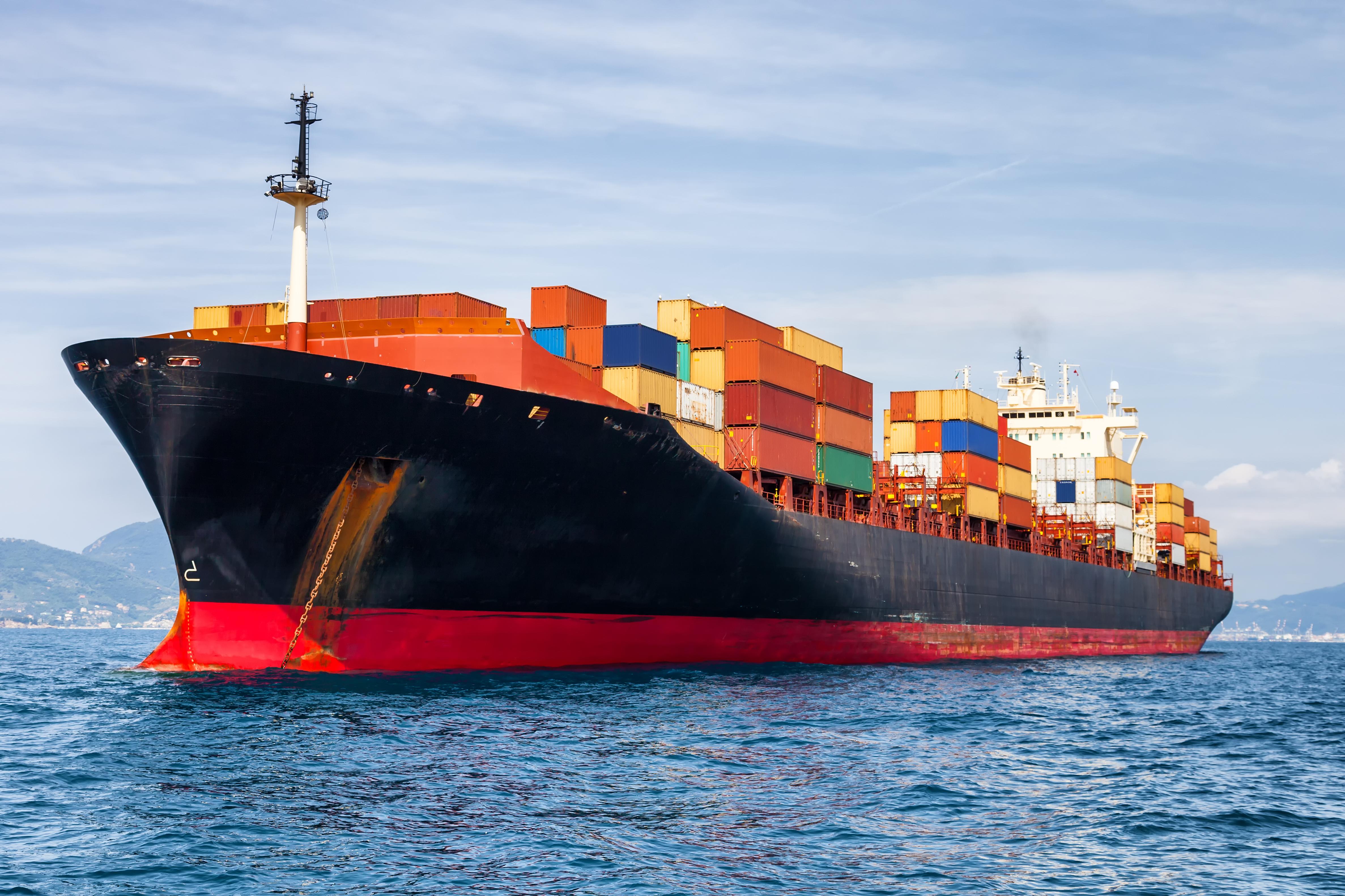 A seafaring cargo ship.