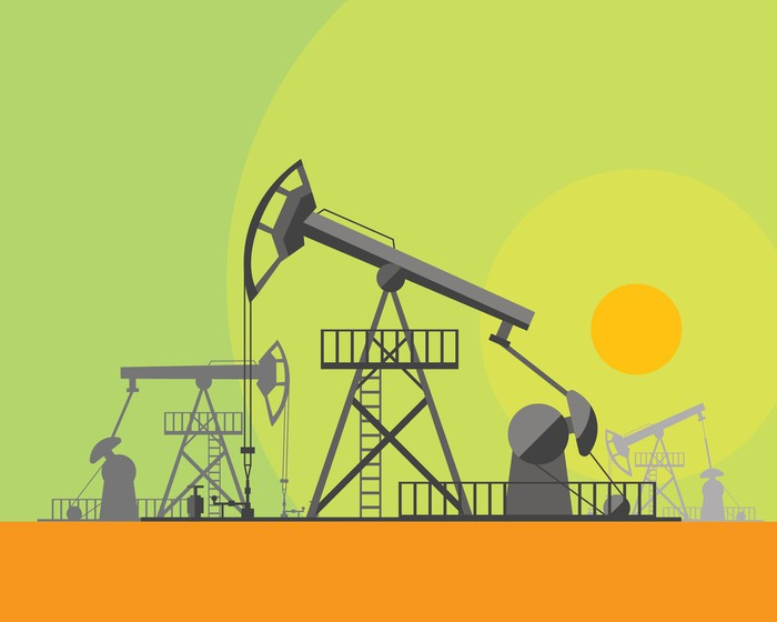A cartoon of an oil pump against a sunlit sky.