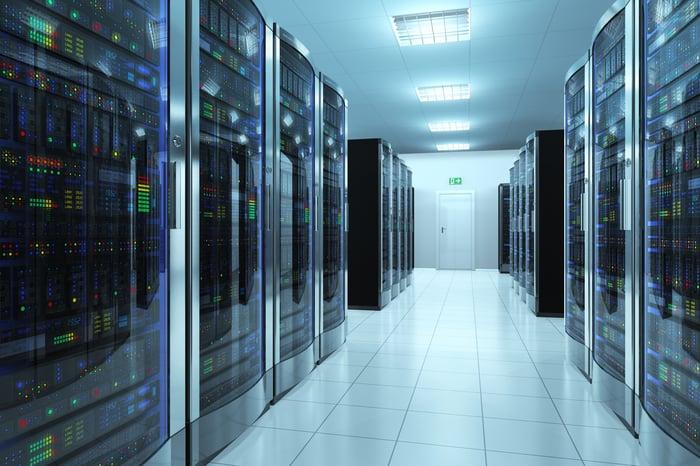 Inside a room of servers.