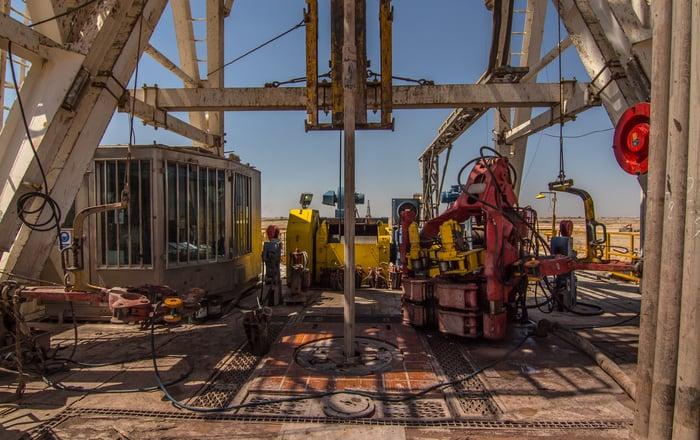 An oil rig platform drill floor.