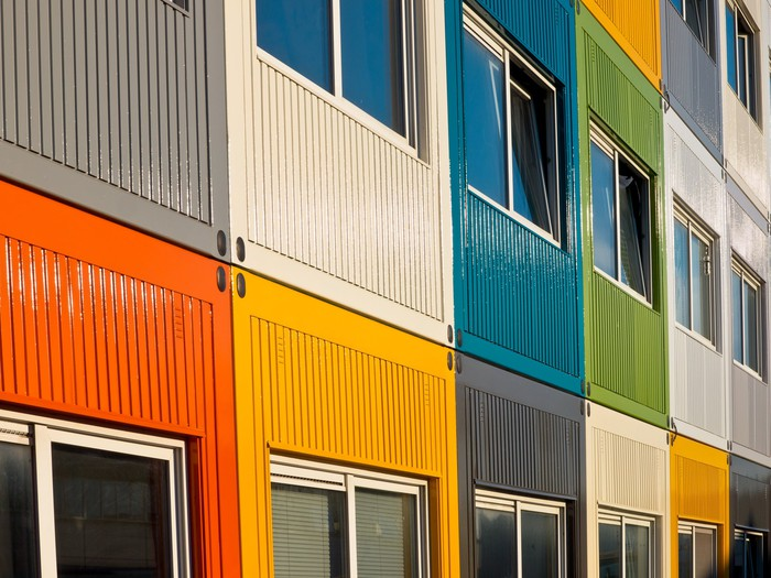 Temporary buildings in multiple colors.