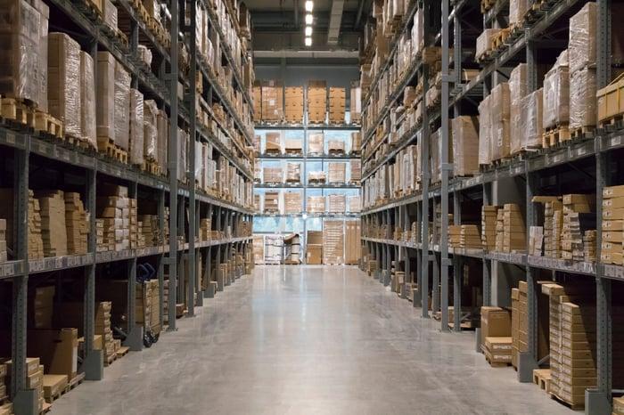 A warehouse's shelves