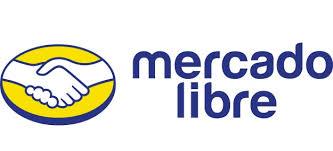 Mercadolibre logo with a handshake over a yellow circle.