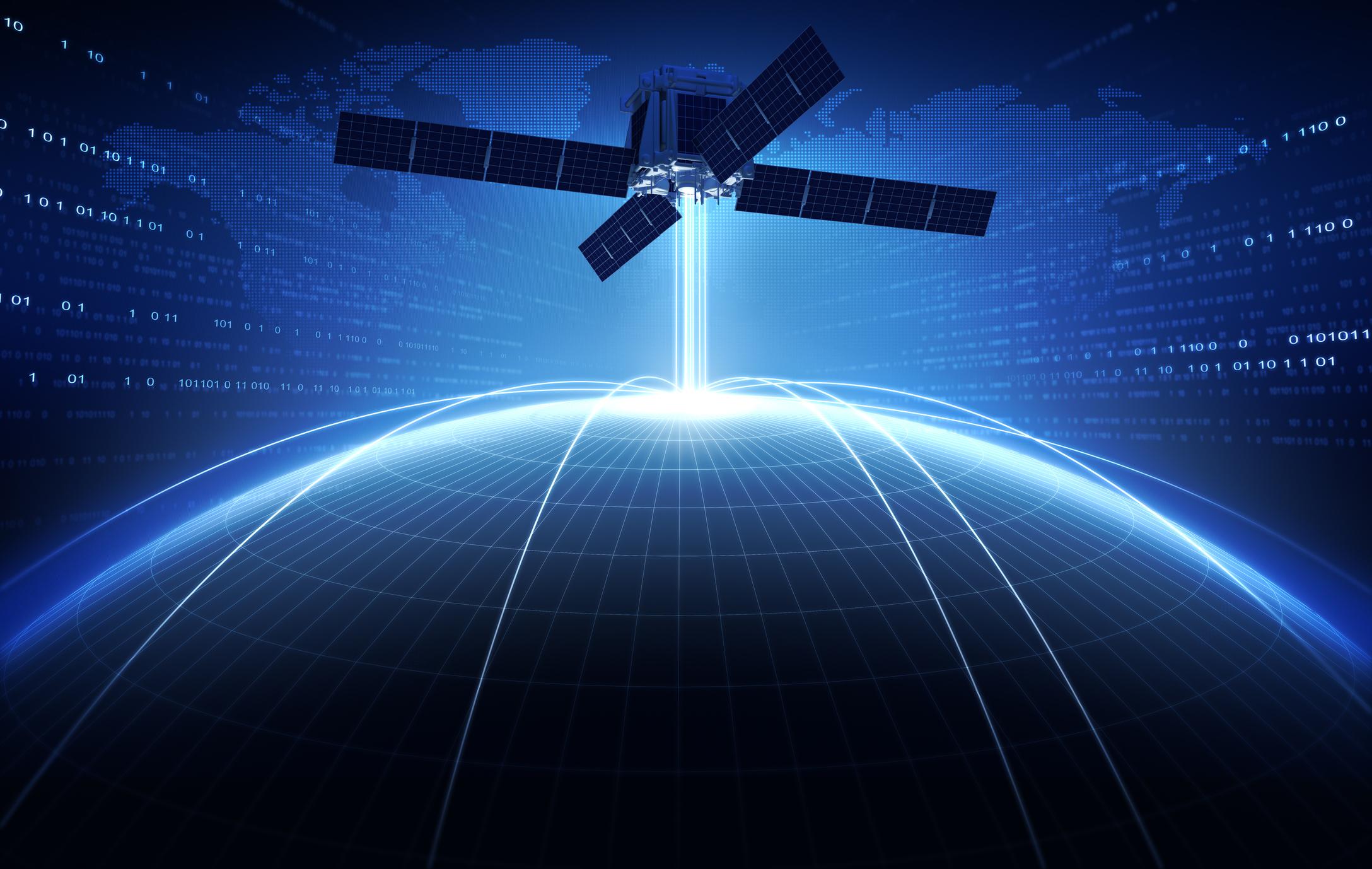 Communications satellite in orbit.