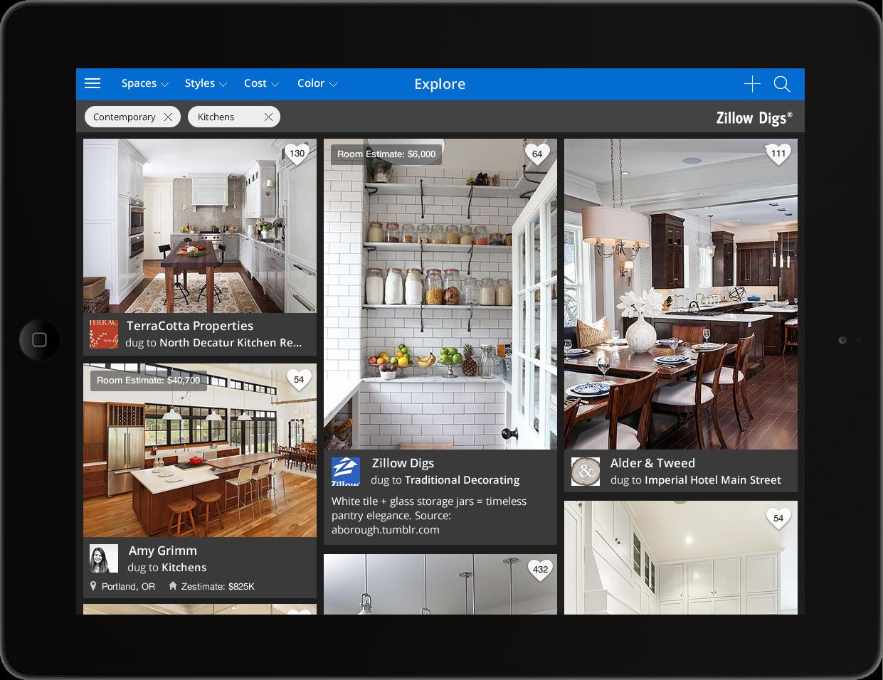 Screenshot of Zillow iPad app.
