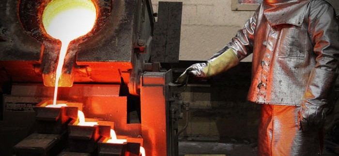 Pouring molten gold at McEwen's El Gallo project in Mexico