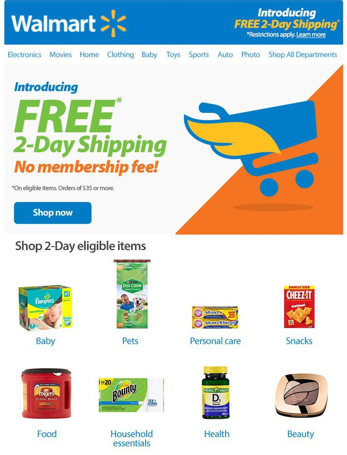 An ad for Wal-Mart's  free two-day shipping program
