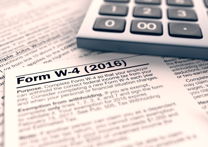 IRS W-4 tax withholding form with calculator.