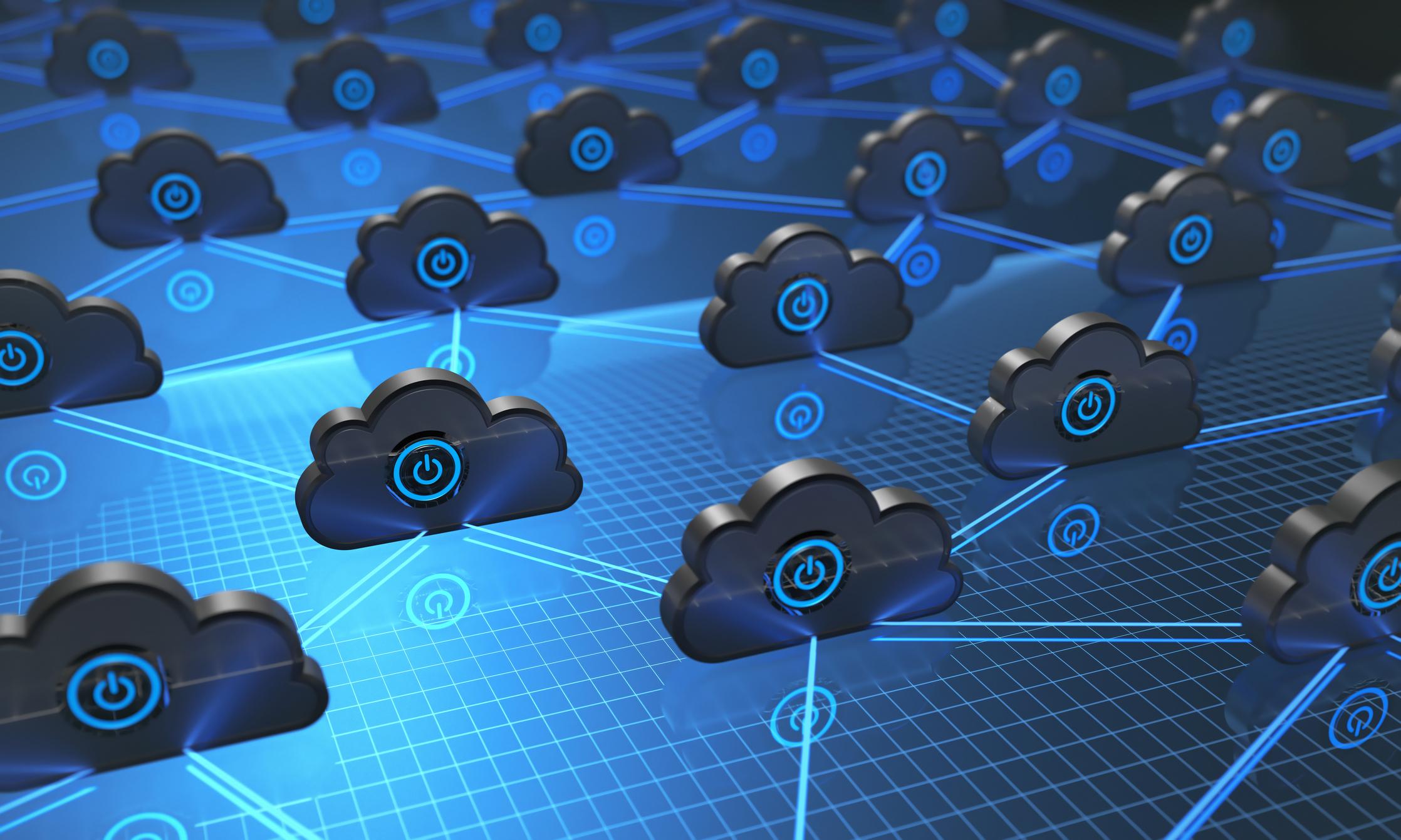 "A network of ""cloud"" computing servers."