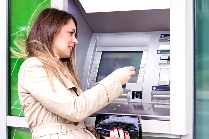 Woman in trenchcoat withdrawing cash from ATM machine