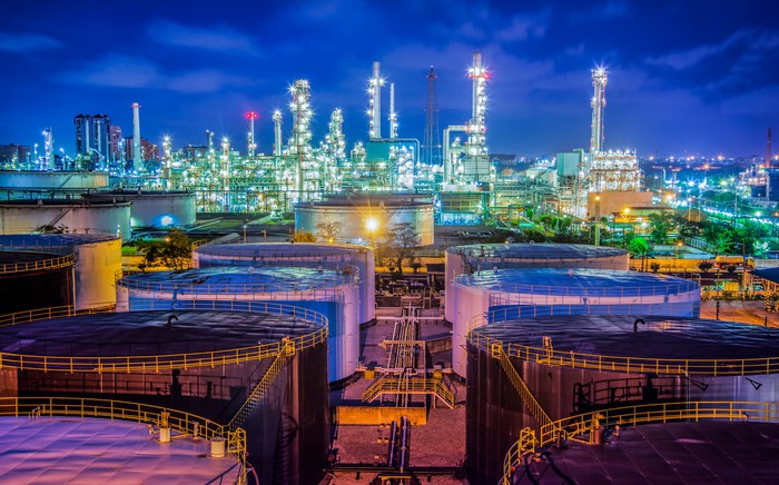 Oil Refinery under the lights