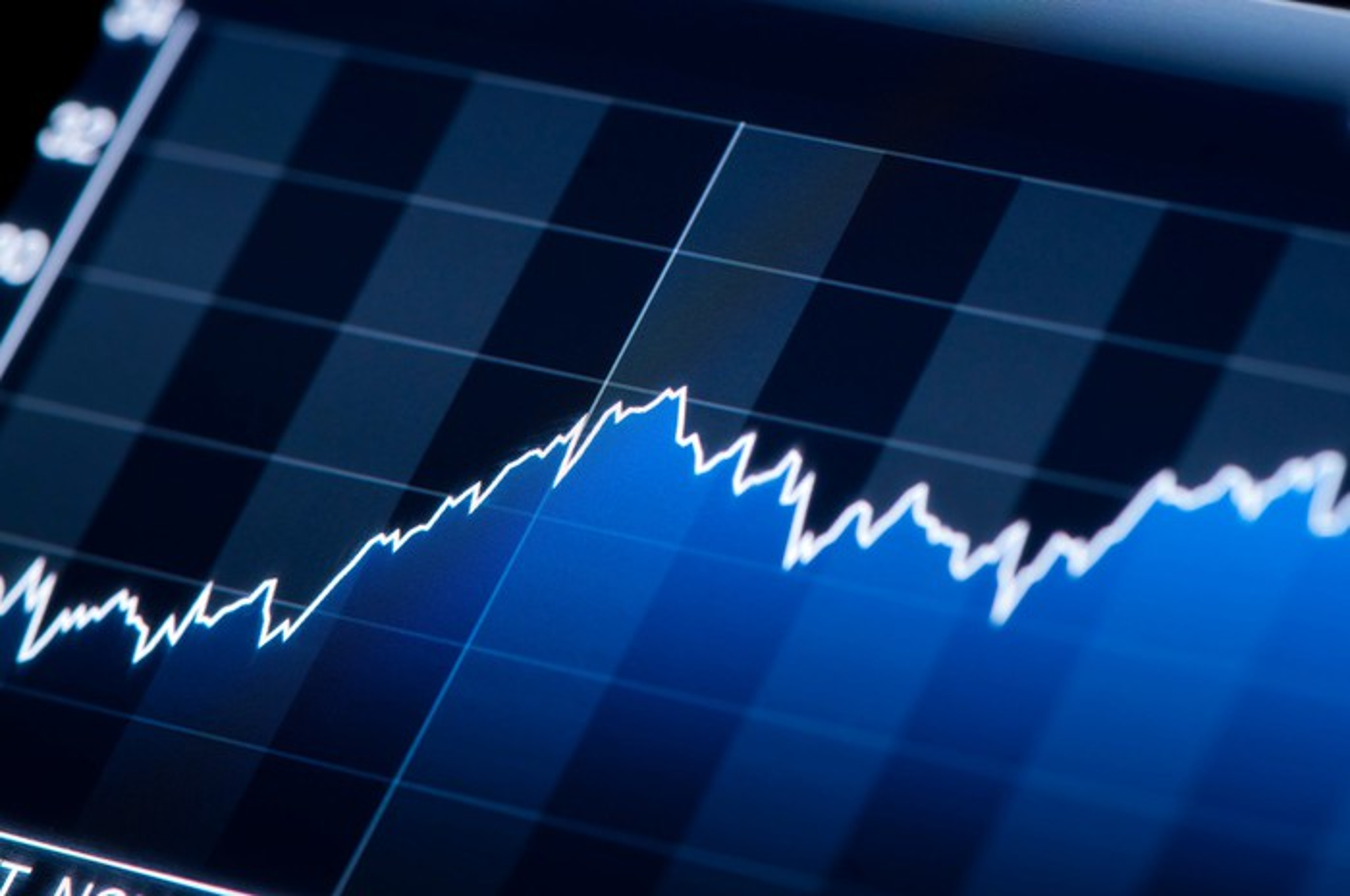 Stock chart rising.