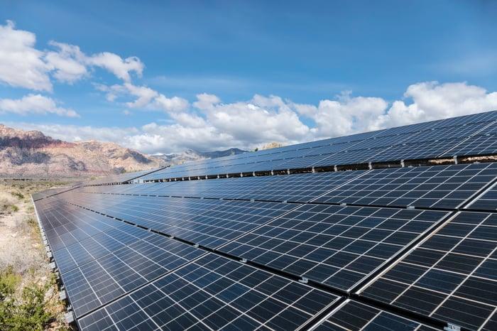 A solar farm in the desert.