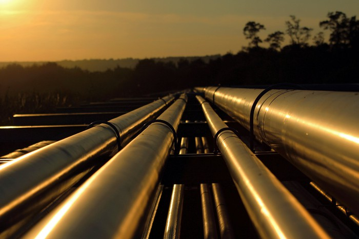 Sun reflecting off pipelines
