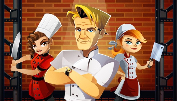 An animated picture of celebrity chef Gordon Ramsay that is featured in a Glu Mobile game.