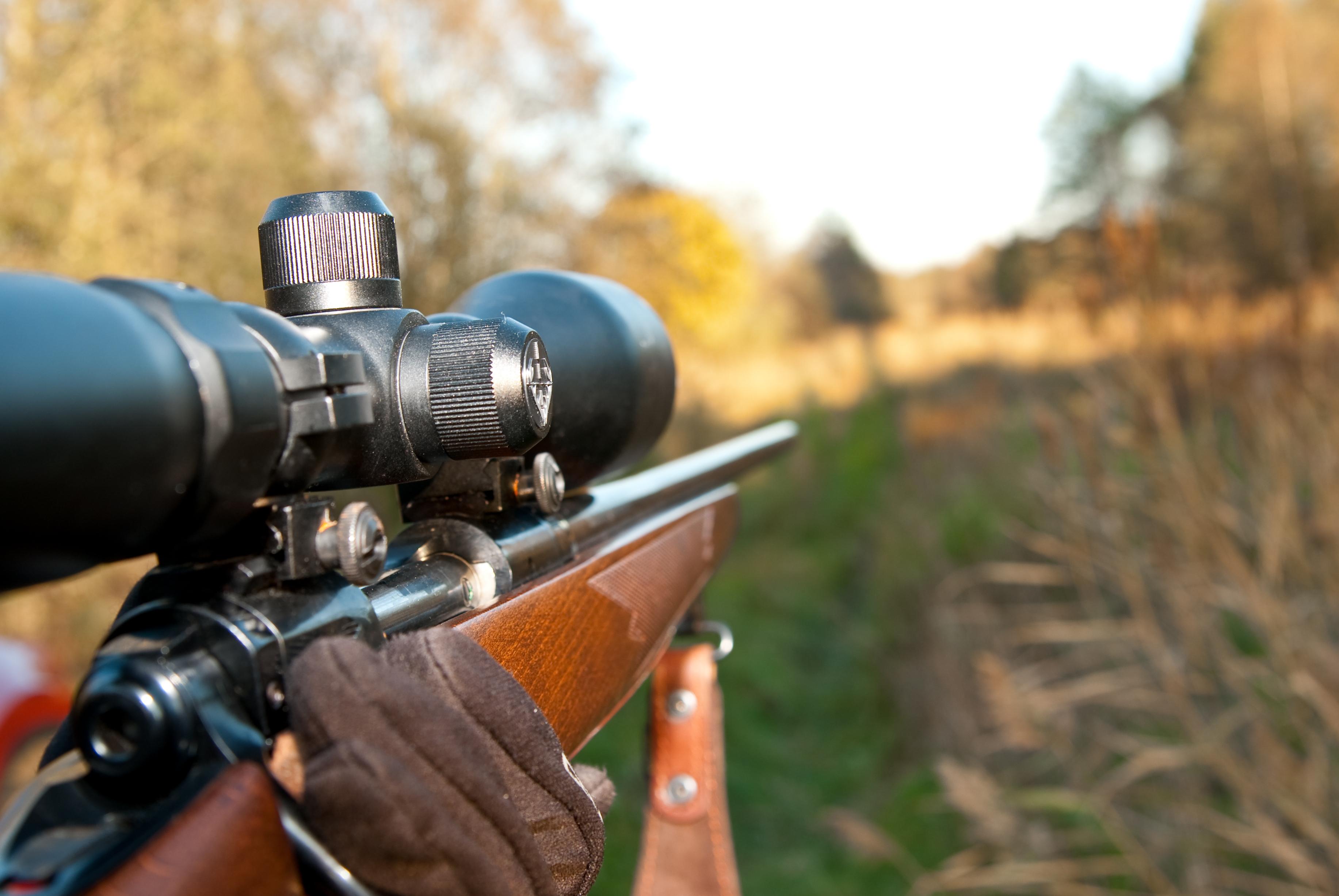 Scoped rifle pointing downrange