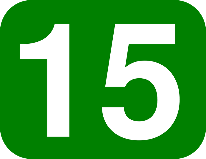 The number 15, against a green background.