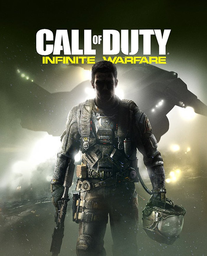 A poster for the game Call of Duty with a soldier walking toward the camera carrying a helmet and gun.