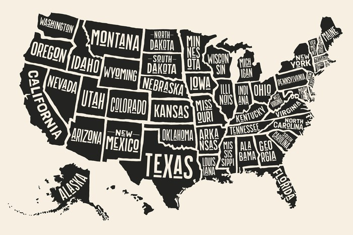 drawing of America with each state labeled