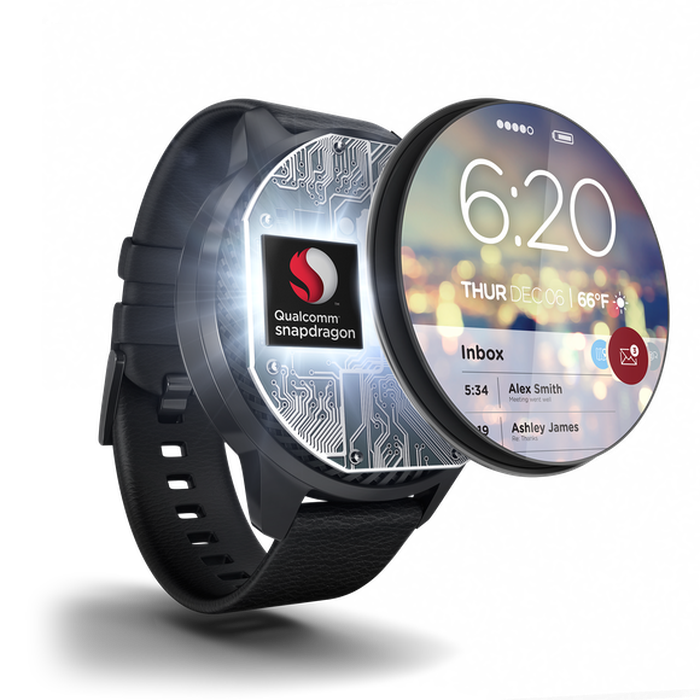 Picture of a smartwatch screen coming off of the watch to reveal a Qualcomm processor behind it