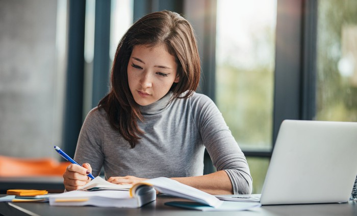 Female college student studying