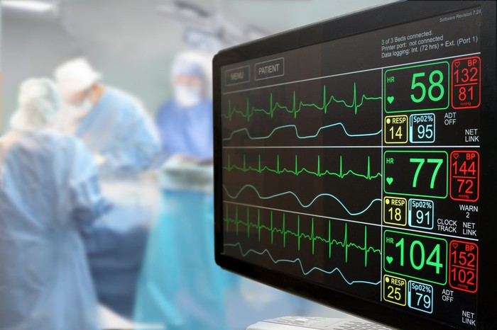 Heart monitor screen in an operating room.