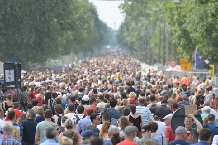 A street crowded with people.