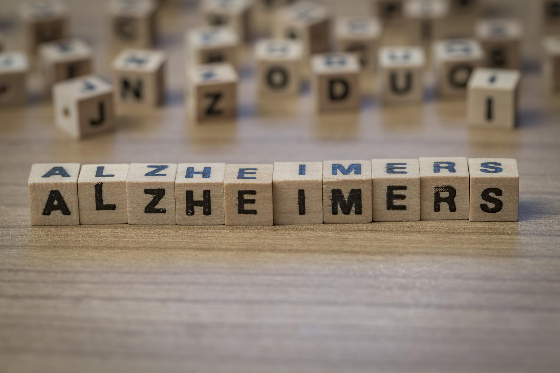 Alzheimers written on wooden cubes.