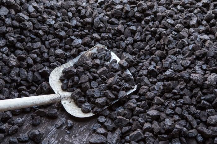 Shovel digging in a pile of coal
