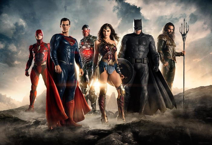 Warner's live-action Justice League, standing from left to right: The Flash, Superman, Cyborg, Wonder Woman, Batman, and Aquaman.