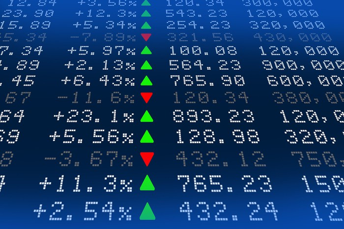 Stock exchange board with green up arrows and red down arrows.