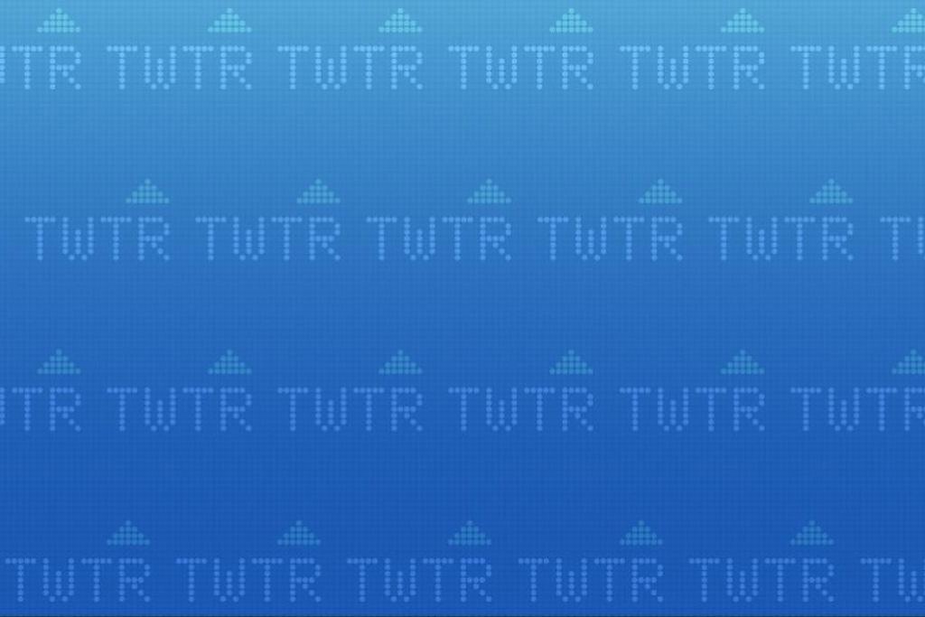 Twitter's TWTR ticker symbol against a blue background.