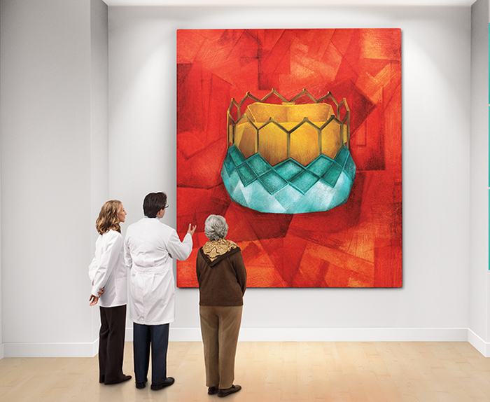 Three people stand in front of a painting of a aortic heart valve.