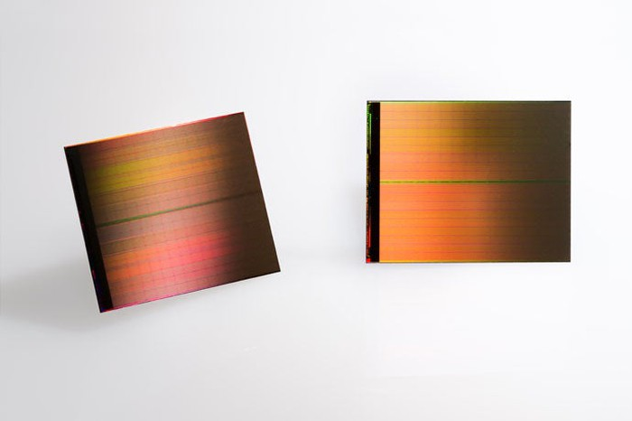 A shot showing two chips of Intel's 3D XPoint memory technology, which the company hopes to sell as both a fast storage solution as well as a DRAM replacement in certain data center workloads.