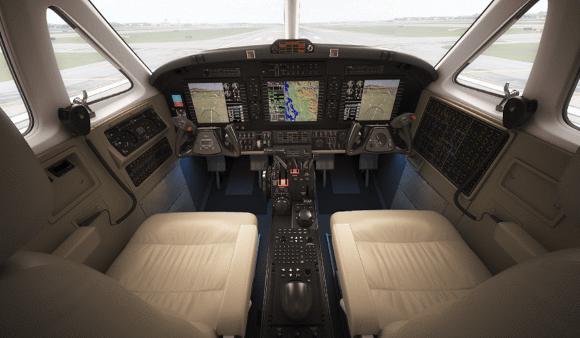 A business jet cockpit.