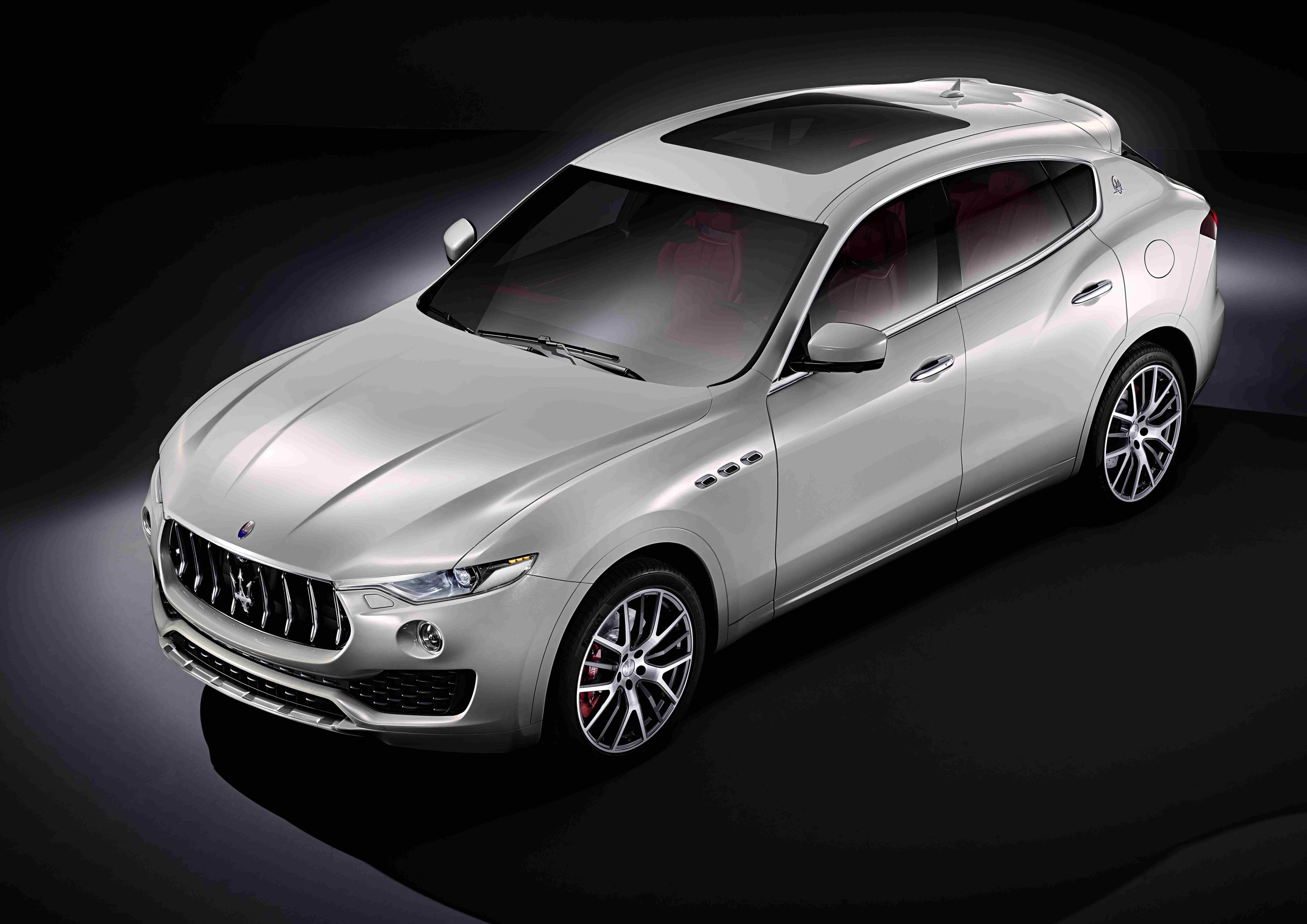A silver Maserati Levante.